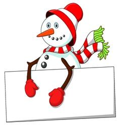 cartoon snowman holding blank sign vector image