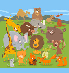 Cute animal characters group vector