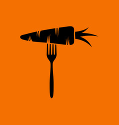 Diet carrot on fork icon vector