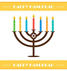 Flat design hanukkah card with menorah vector image