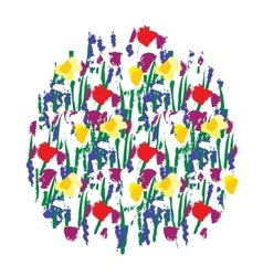 Flowers color round isolate on white vector image