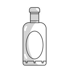 Line wine bottle liquor to special celebration vector