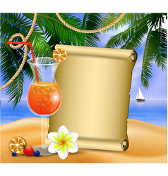 old paper on tropical background vector image vector image