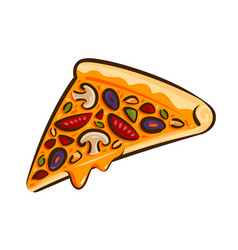 Pizza element of restaurant menu or diner fast vector