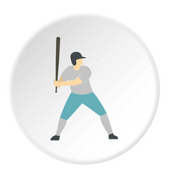 Professional baseball player icon circle vector