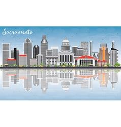 Sacramento skyline with gray buildings vector