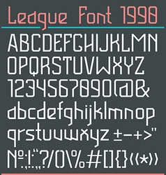 Sans serif font in thin line style vector