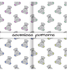 set of seamless patterns with teddies of different vector image vector image