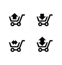 Shopping cart icons and arrow vector