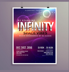 space universe style music flyer template with vector image
