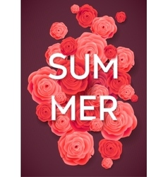 Summer Pink Roses on Dark Background vector image vector image