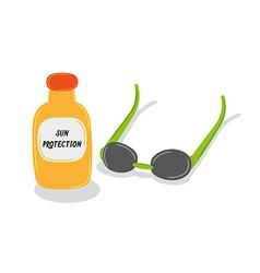 Sun oil and sun glasses vector