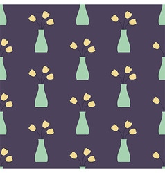 Vase with Flowers Seamless Vintage Pattern vector image vector image