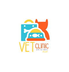 vet clinic logo template original design colorful vector image