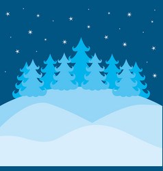 winter landscape with pines and sky with stars on vector image vector image