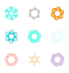 Types of artificial flowers icons set vector