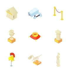 Items in museum icons set cartoon style vector