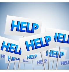 Crowd of help signs vector