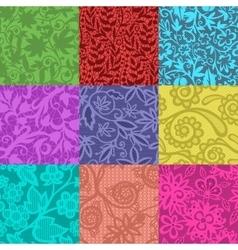 Vintage floral seamless pattern set vector image