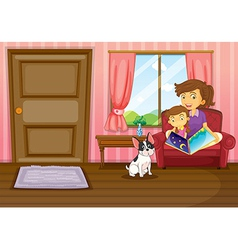 A mother and a girl reading with a dog inside the vector