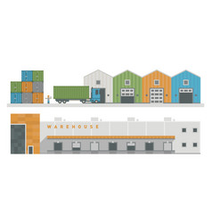 Warehouse logistic buildings vector