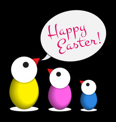 Easter greeting - three colored chicken eggs text vector
