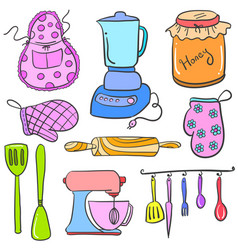 Doodle of kitchen set accessories collection vector