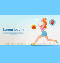 Sport woman run fitness girl jogging vector