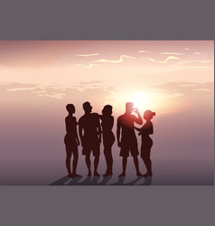 silhouette people group stand man and woman full vector image