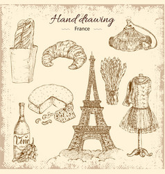 hand drawing france elements set vector image