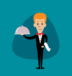 Waiter holding a serving platter or silver cloche vector