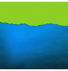 Blue texture with green torn paper vector