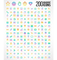 200 trendy thin gradient icons vector