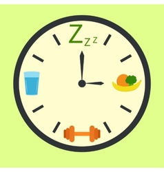 Healthy life concept with clock vector
