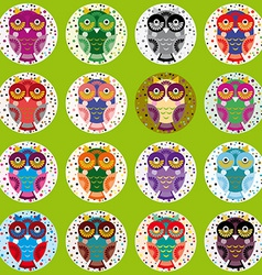 Little funny owls on green background vector