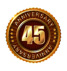 45 years anniversary golden brown label vector image vector image