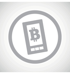 Grey bitcoin screen sign icon vector