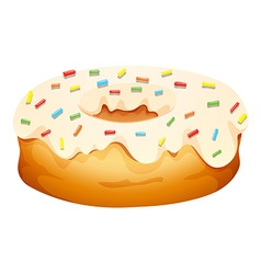 Doughnut with cream frosting vector