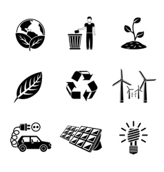 Set of ecology icons with - recycle sign green vector
