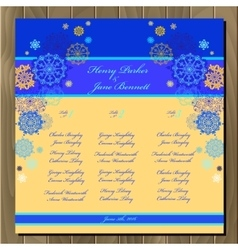 Table guest list background with winter vector
