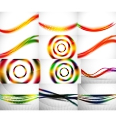 Wave backgrounds set abstract vector