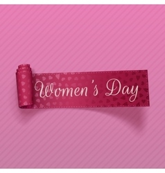 March 8 womens day realistic scroll pink ribbon vector