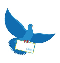 Postal pigeon blue dove with envelope blue bird vector