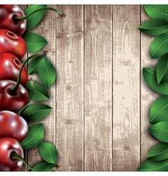 Many cherries and leaves on wooden background vector