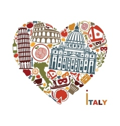 Traditional symbols of italy in the form of heart vector