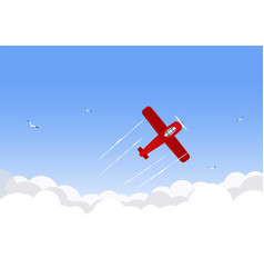 Airplane flying over the sky vector