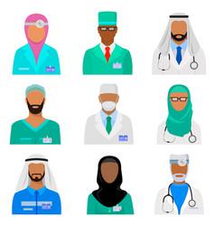 arab medical staff set vector image
