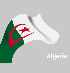 background with algeria wavy flag vector image