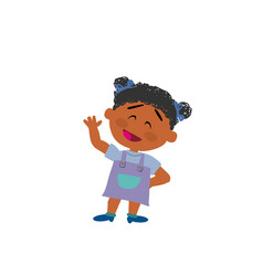 Cartoon character black girl greeting vector