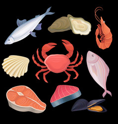 cartoon icons set with different kind of seafood vector image